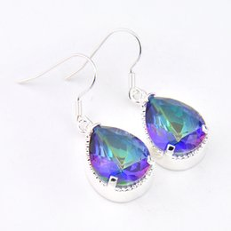 Wholesale Dangles Earring - 5 Pairs 1 lot Luckyshine Classic Fire Drop Rainbow Mystic Topaz Crystal 925 Sterling Silver Russia American Australia Wedding Drop Earrings