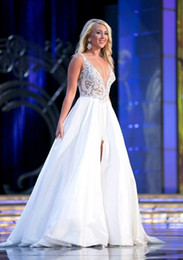 Wholesale Miss America Evening Gowns - Most Gorgeous Dresses Evening Wear For The Miss America Pageant Dance Gown Sexy Plunging Neck Front Slit Floor Length Prom Evening Dresses