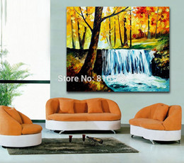 Wholesale Waterfall Art - Forest Waterfall Landscape Picture Palette Knife Oil Painting Mural Art for Bedroom Living Room Home Decor
