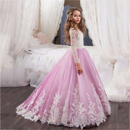 Wholesale Long Gown For Hand - 2017 New Flower Girl Dress Long Sleeves O Neck Girls Pageant Gowns Holy Lace Communion Dresses For Girls Birthday Party Dress