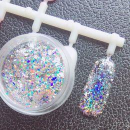 Wholesale Diamond Glitter Nail Art - 0.2g Nail Art Glitters Snowflake Sequins Rainbow Laser Powder Diamond Magic Holo Flakes 3d Manicure Accessory Diy Nails Beauty