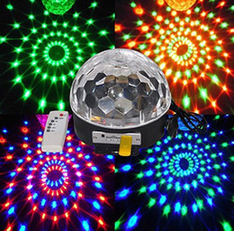 Wholesale Magic Ball Effect Light Dmx - 6 - 9 LED With MP3 Music Speaker Remote control Beautiful Crystal Magic Effect Ball light DMX Disco DJ Stage Lighting Play