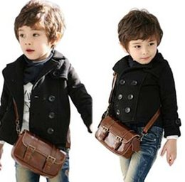 Wholesale kids wool jackets - boy double breasted jacket black coat boy small suit jacket coat long sleeve wool kids clothes children jacket free shipping in stock