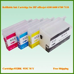 Wholesale Ink Cartridge Hp 932 - Free Shipping 4pcs lot Empty 932 BK 933 C M Y refillable ink cartridge with Chip for HP Officejet 6100 6600 6700 7110