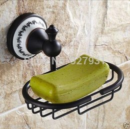Wholesale Ceramic Wall Baskets - Free Shipping Wholesale And Retail Solid Brass Ceramic Style Soap Dish Basket Bathroom Wall Mounted Soap Dish Holder Rack 1001#01