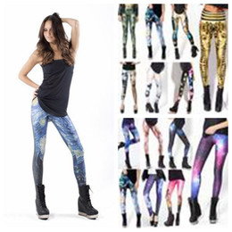 Wholesale Galaxy Cosmic Space Leggings - FG1509 Women's 3D Leggings Galaxy Women Leggings Pants Cosmic Space Sky Printed Fitness Perneiras Legging Pencil Pants Feet Polainas