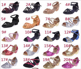 Wholesale Girls Latin Shoes - Wholesale-Free shipping 2015 sping new Children Girls Kids soft outsole latin dance shoes,ballroom tango salsa dancing shoes sandals