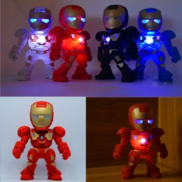 Wholesale Iron Man Led Flash - C-89 Iron Man bluetooth speaker with LED Flash light Iron Man figure Robot portable Mini wireless subwoofers bluetooth support TF FM USB