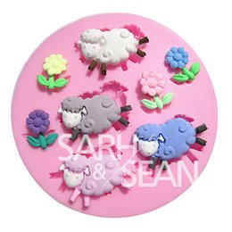 Wholesale 3d Sheep Soap - 3D M0269 The sheep & the flowers fondant cake molds soap chocolate mould for the kitchen baking