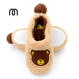 Wholesale teddy home - Millffy home coral velvet teddy bear slippers candy colored soft slipper rubber sole shoes home kids slippers