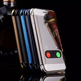 Wholesale Opening Iphone Case - For iphone X 8 Luxury Clear View Mirror Screen Case Chrome Electroplate Flip Wallet Open Window Take Calls Cover for iphone 7 plus 6S