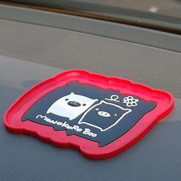 Wholesale Glove Silicon - QP040 car slip-resistant pad black and white stereo basin cartoon the magic pad car vehicle glove mat
