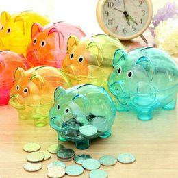 Wholesale Girls Banks - 2016 Storage BottlWedding gifts Lovely Candy colored transparent plastic piggy bank money boxes Princess crown Pig Piggy Bank Kids Girls