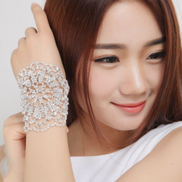 Wholesale Drop Bangle Chain Bracelet - 2016 New Sparkly Adjustable Bridal Jewelry Bridal Armlet Chain Wedding Armbands Rhinestone Crystal Women Bangle Cheap In Stock