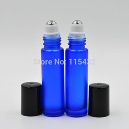 Wholesale Fragrance Sales - Blue THICK 10ml ROLL ON GLASS BOTTLE Fragrances ESSENTIAL OIL stainless steel Roller Ball BY DHL EMS Free Shipping Hot sale