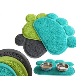 Wholesale Embossed Mat - Pet Dish PVC Dinner Bowl Mat Embossed Paw Style for Pet Dog Cat Puppy Dish Bowl Feeding Food PVC Mat Wipe Clean