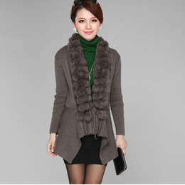 Wholesale Wool Vest Fur Collar - Wholesale-knitting cardigan real rabbit fur collar shawl with wool sweater vest for women female fashion jacket outwear free ship CW2874