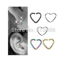 Wholesale Cartilage Hoops - 40PCS Lot Mix 4 colors Stainless Steel Heart Shape Septum Piercing Nose Hoop Daith Helix Cartilage Lip Labret Piercing Ring