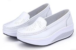 Wholesale Nurse Shoes Man - Wholesale-2015 new leather shoes nurses shoes shook slope with heavy-bottomed platform shoes whiteCasual shoes fall and winter shoes42