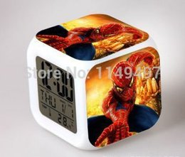 Wholesale Novelty Thermometers - Free shipping Novelty 8pcs spiderman Hypnotic LED 7 Colors Digital Alarm Clock Thermometer Night light electronic toys,