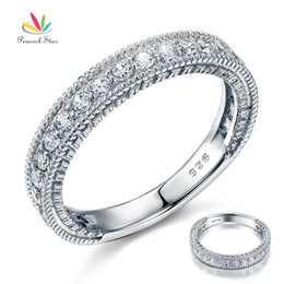 Wholesale Art Deco Diamond Jewelry - Wholesale-Wholesale Vintage Style Art Deco Simulated Diamond Solid Sterling 925 Silver Band Wedding Eternity Ring Jewelry CFR8099