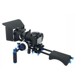 Wholesale Dslr Rig Follow - Free DHL DSLR Rig Movie Kit Matte Box + Follow Focus + 15mm Rod Spport Plate + Handle + Shouder Mount Pad For Video Camera 5D II III