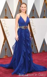 Canada 2016 Brie Larson robes de célébrités 88ème oscard awards une ligne avec des volants ceinture spaghetti train de balayage bleu organza formelle robes de soirée Offre