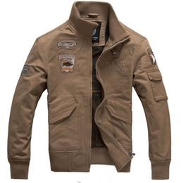 Wholesale Embellished Jackets - Fall-Military Style Jackets For Men Aviator Jackets 2015 New Fashion Ealge Badges Embellished Free Shipping