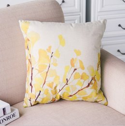 Wholesale Leaf Throw Pillows - 45cm * 45cm Autumn Ginkgo Leaf Throw Pillow Covers Cotton Pillow Case Cushion Cover Pillowcases Sofa Car Decorative Pillow cover