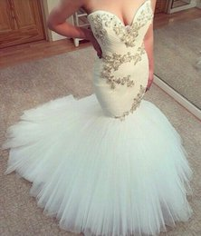 Wholesale Sweatheart Backless Wedding Gowns - Romantic Sleeveless Backless Sweatheart Appliqued Wedding Mermaid Dresses Wedding Gowns Tulle Bridal Bride Dresses Mermaid Dresses