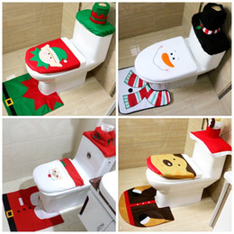 Wholesale toilets for bathroom - Toilet Seat Cushion Santa Claus Rug Bathroom Set Christmas Decorations Articles Home Toilet Ornaments For Many Styles 16 42qy