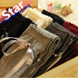 Wholesale Brown System - Lolita cosplay cream lace bow the knee boots, Japanese women cotton socks thigh high system