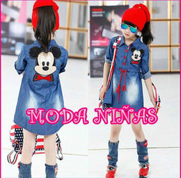 Wholesale Long Sleeved Dress Korean - 2015 Spring Fashion Korean Mickey girl Princess long sleeve Clothes Denim dress B001