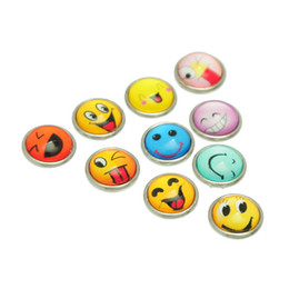 Wholesale Smile Face Button - Wholesale-2015 New 10PCs Snap Mini Buttons Fit DIY Bracelet Smiling Face Mixed 12mm Free Shipping