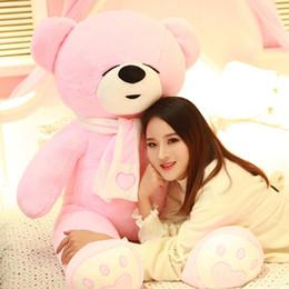 Schöner großer teddybär online-Schöne große Größe Teddybär Plüschtier braun weiß und rosa umarmen den Bären Kuscheltier Puppe Kinder Geburtstagsgeschenk