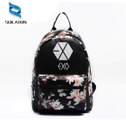 Wholesale Exo Bags - Women Leather EXO School Floral Printing Backpack Preppy Style Small Travel EXO Backpacks For Teenage Girls Bag mochila feminina