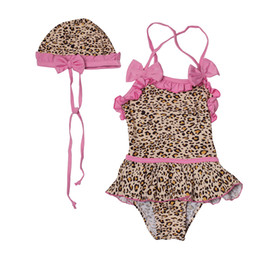 Wholesale Infant Girl Swim Suits - Baby Swimsuit Leopard Infant Toddler Girls Swim wear Kids Bathing Suit One-Piece Bikini + hat biquini infantil Costume New 2016
