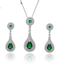 Wholesale Top Bride China - Elegant Women Zirconia Bride Jewelry Set 18K Rhodium Plated Earrings & Necklace Party Evening Dresses Jewelry Accessories Green Top Quali