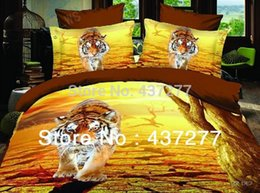 Wholesale Manly Comforter Sets - tiger yellow bedding comforter set manly 4 or 5 piece full queen reversible duvet cover bedclothes bedspread flat sheet bed set