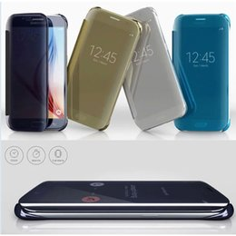 Wholesale Iphone Slimmest Flip Case - Mirror Slim View Case Wake Sleep Electroplate Dormancy Wallet Flip Smart Cover for Iphone SE 5S 6S Plus Samsuang Note 5 4 S6 S7 Edge Plus