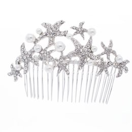 Wholesale Starfish Hair Comb Wedding - Cute Starfish Hair Combs Pins Pearl Hairpins for Women or Bridal Wedding Head Jewelry Accessories with Austrian Crystals 201592