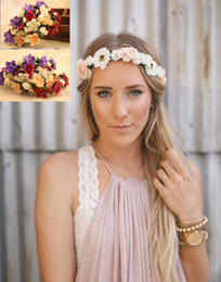 Wholesale Wholesale Crowns For Pageants - Boho Headbands Pageant Crowns Quinceanera Tiaras Hair Wreath Flower Accessories For Bridesmaid Wedding Head Pieces Garland Fascinator Hats