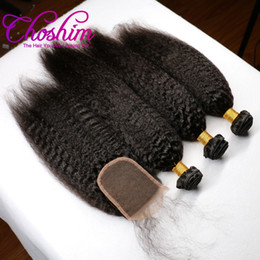 Wholesale Wholesale Remy Hair 15 - Choshim Hair Products Remy Hair Bundles With Closure Kinky Straight Natural Color 3 Bundles With 4x4 Lace Closure Longest Hair PCT 15%