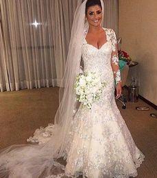 Wholesale Inexpensive Tulle Wedding Dresses - 2015 Inexpensive Long Sleeves Wedding Dresses Sweetheart Neckline Beaded Lace Appliques Chapel Train Bridal Gowns Plus Size Berta