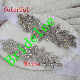 Wholesale Bridal Rhinestone Sash Ribbon - 2015 Trendy Fashion White Rhinestone Wedding Dress Sash Handmade Colorful Beads Crystal Bridal Belt Ribbon