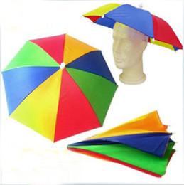 Wholesale Umbrella Canopies - Wholesale-free shipping Portable Elastic Headband Canopy Umbrella Hat Cap for Sun Rain Fishing Camping