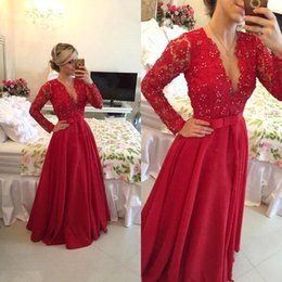 Wholesale Plunge Chiffon Dress - Red Long Sleeves Lace Chiffon Evening Dresses 2016 Robe Plunging Neckline Knot Bow Sash A Line Floor Length Prom Dresses Vestidos BA1845