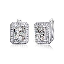 Wholesale Stud 925 - ORSA New Arrival 2 ct Emerald Cut Cubic Zircon Earring Stud 925 Silver Ear Clip Design Baguette Earring For Ladies OE95