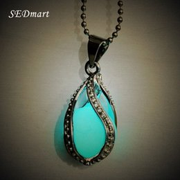 Wholesale Teardrop Choker Necklace - Wholesale- Women's Fluorite Rhinsetone Glow In The Dark Mermaid's Teardrop Hollow Charm Luminous Stone Pendant Statement Chocker Necklace