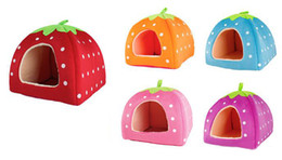 Wholesale Pyramid Dog Beds - NEW Wholesale 1PCS Soft Sponge Strawberry Pet Dog Cat Bed Houses Lovery Warm Doggy Kennel 3 SIze 4 Colors Available